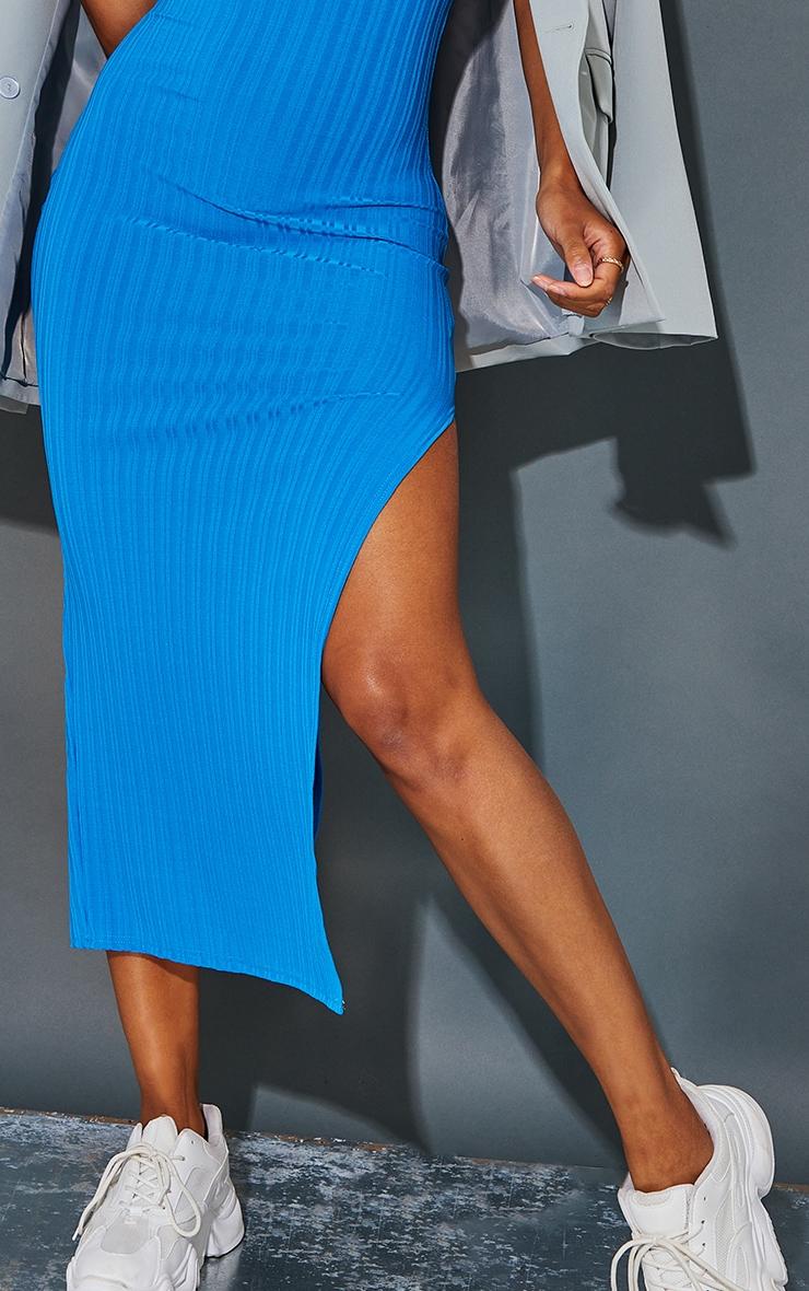 Recycled Blue Rib Split High Neck Midaxi Dress 4