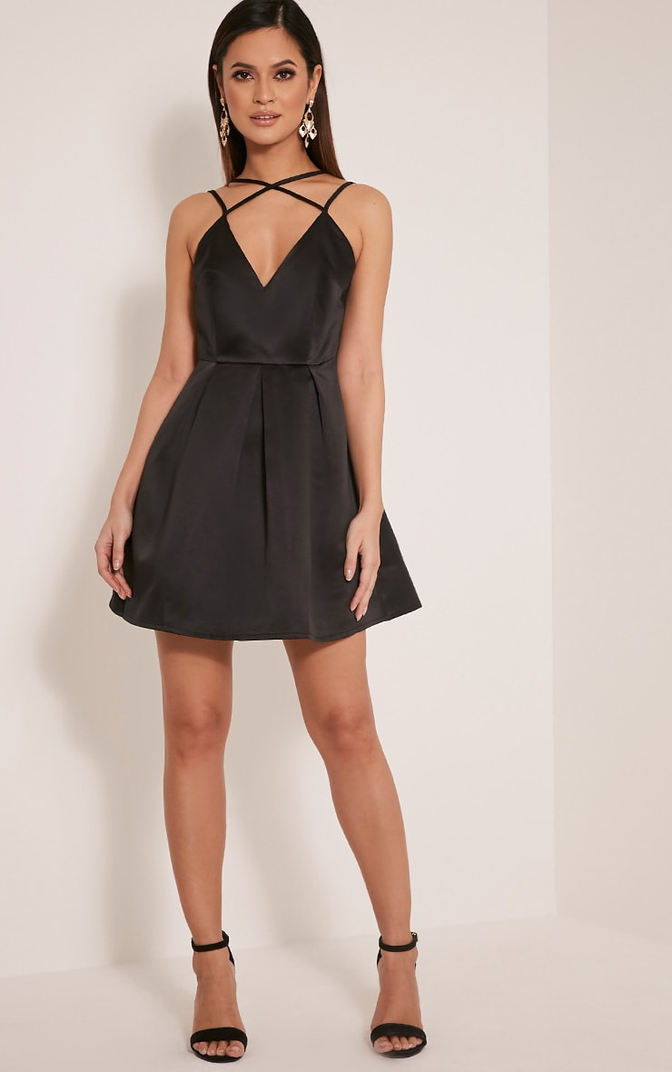 Hilari Black Strappy Satin Skater Dress 1