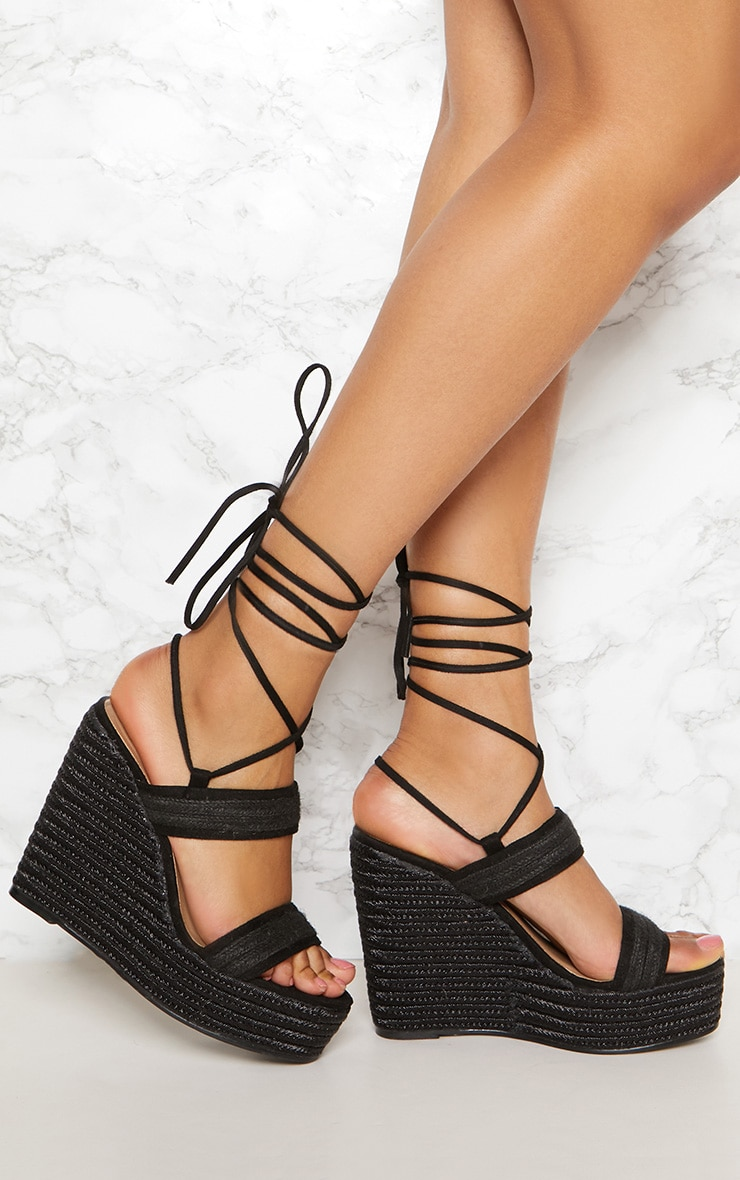 Black Twin Strap Espadrille Sandal