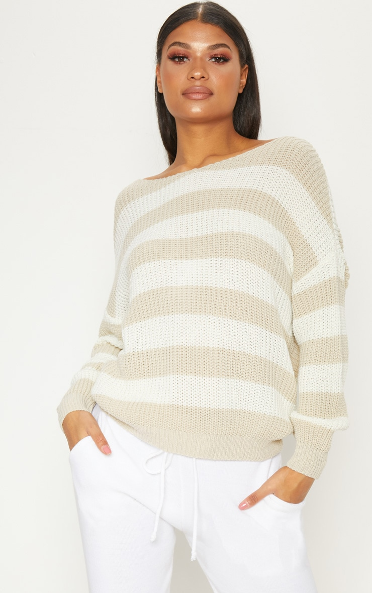 Stone Stripe Twist Back Sweater 4