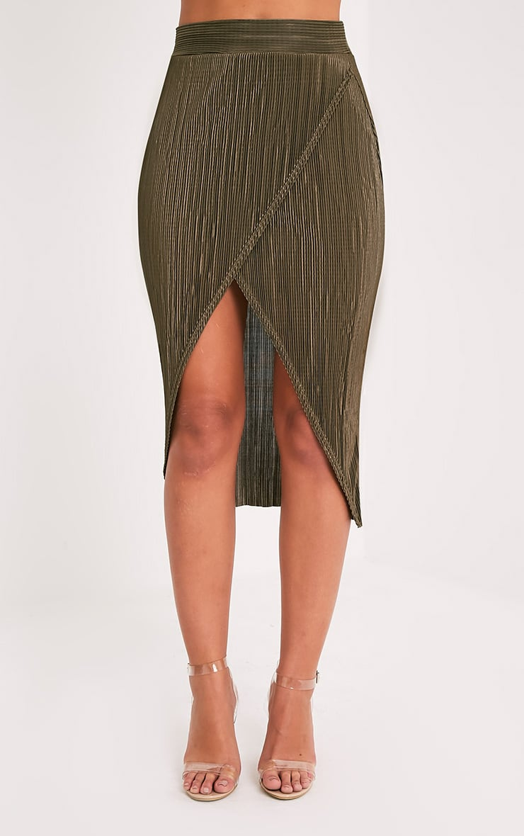 Leola Khaki  Pleated Wrap Midi Skirt 2
