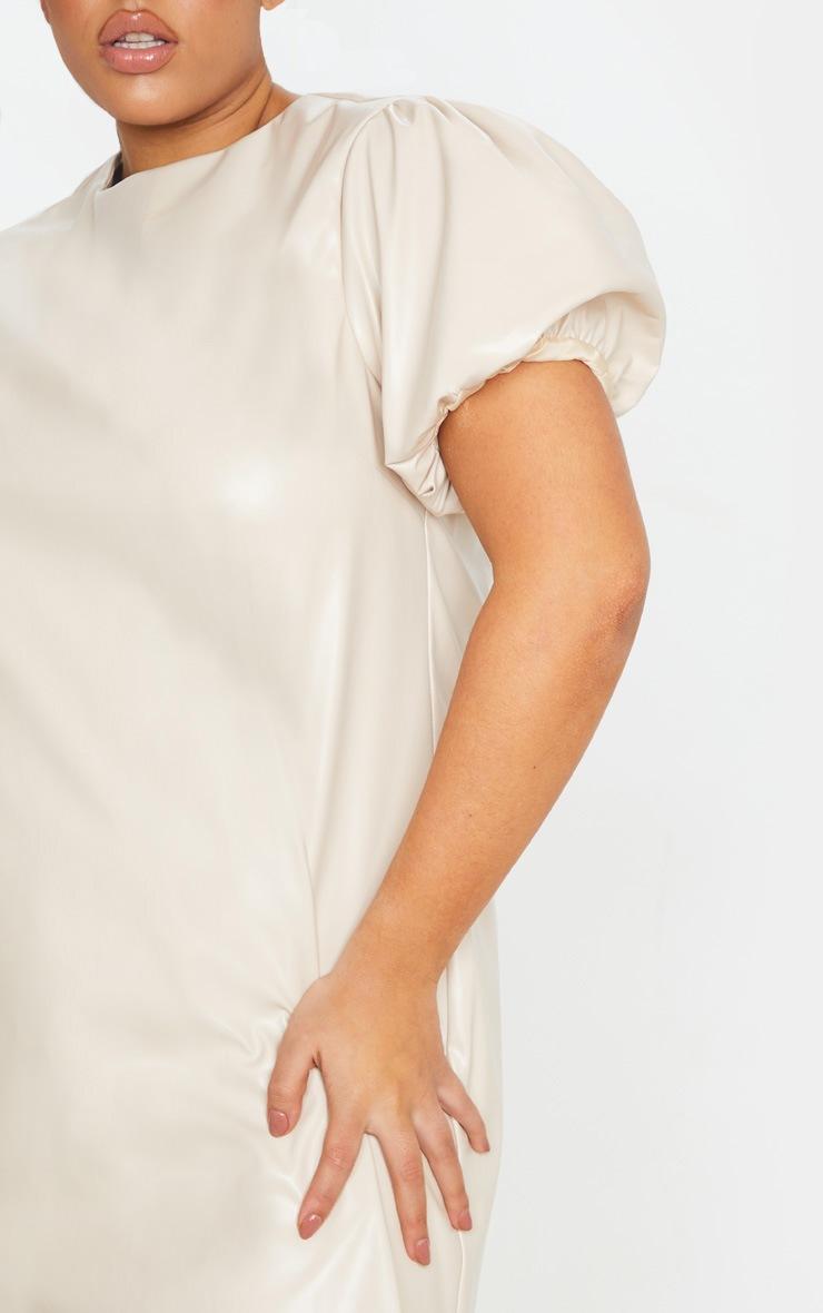 Plus Cream PU Puff Sleeve Shift Dress 5