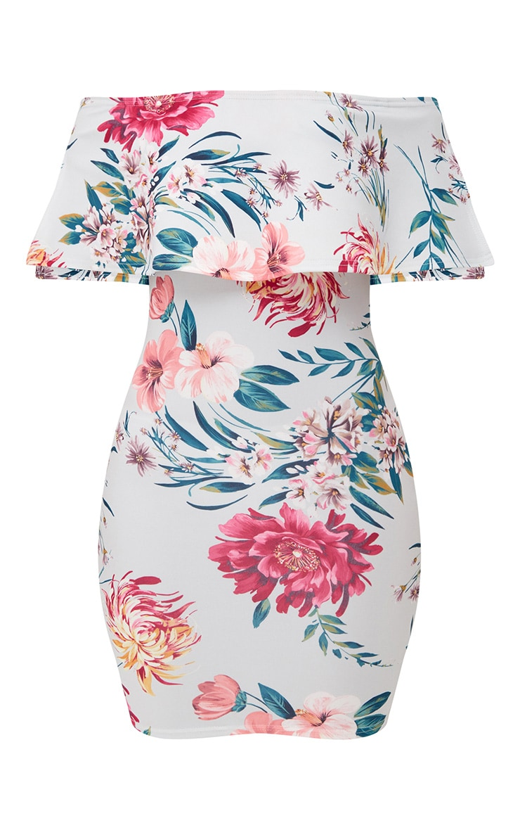 Grey Floral Print Bardot Frill Bodycon Dress  3