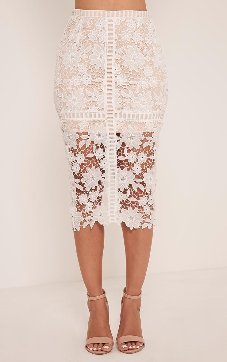 Janae White Crochet Lace Midi Skirt 2