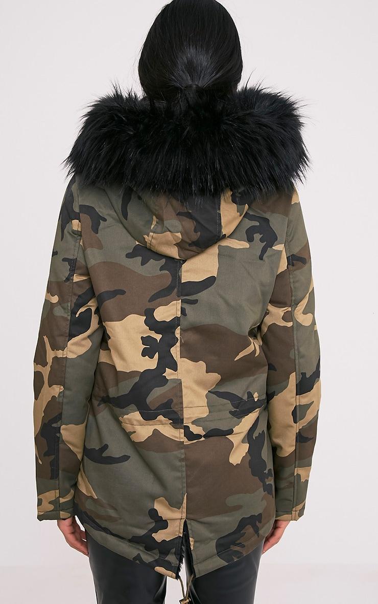 Klaudiya parka camouflage à doublure en fausse fourrure Premium noire 2