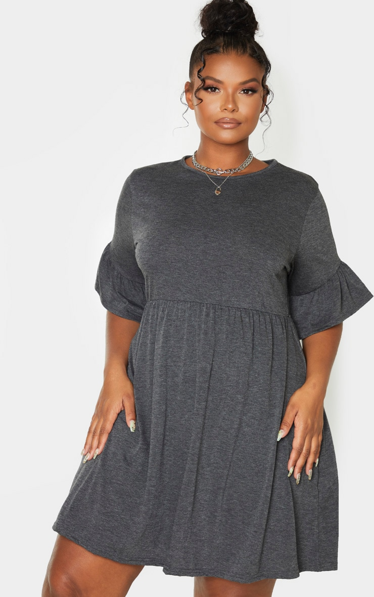 Plus Charcoal Frill Detail Smock Dress 1