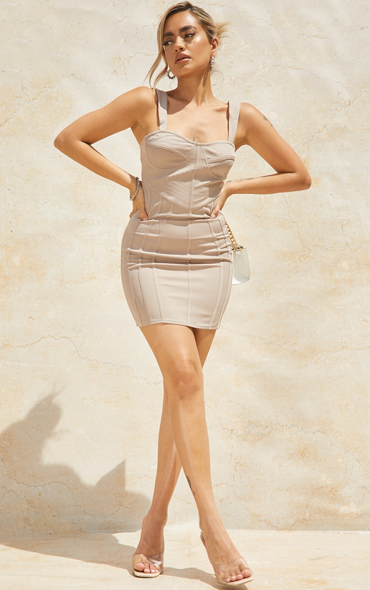 Petite Stone Strappy Corset Detail Dress 1