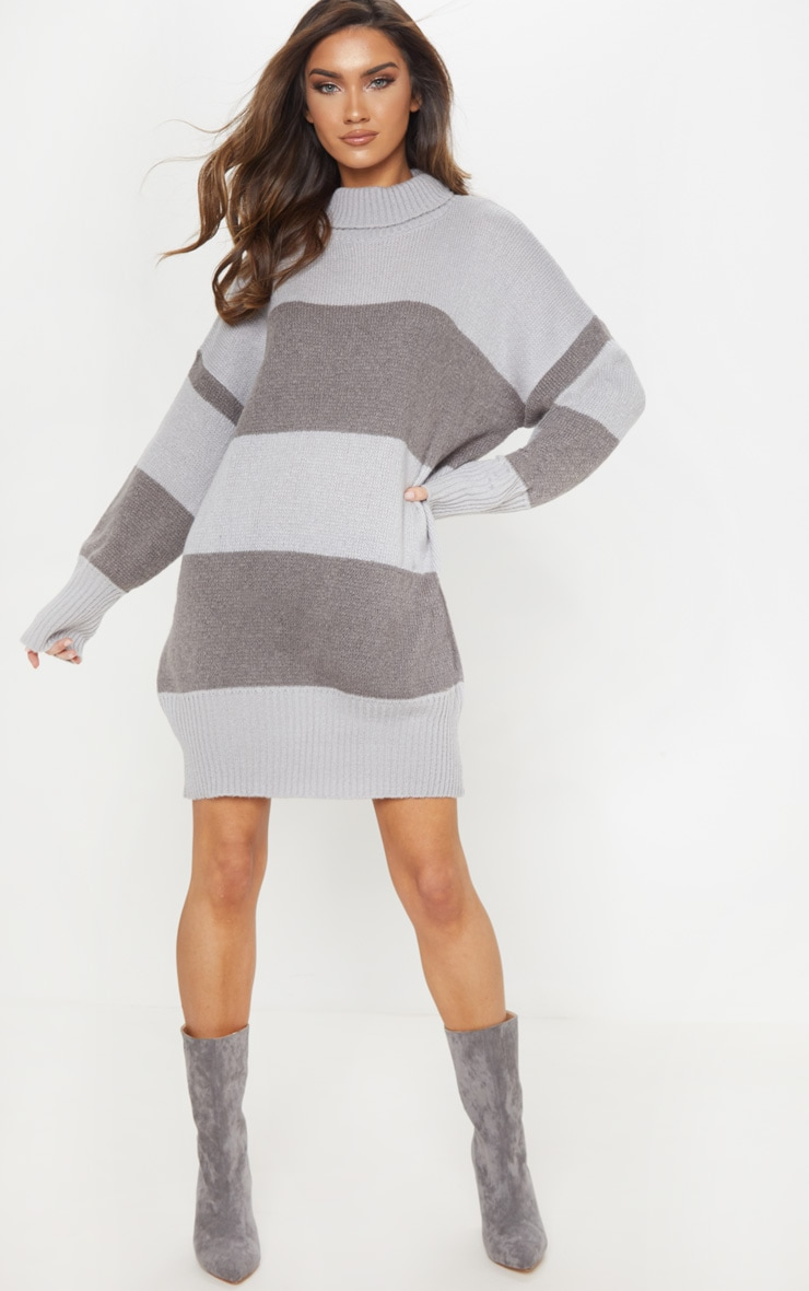 Grey Striped Jumper Dress 4