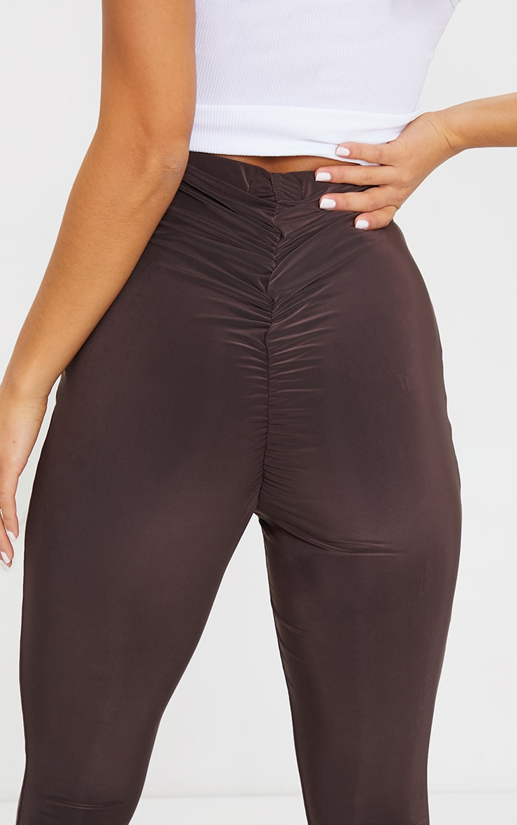 Petite Chocolate Flare Ruched Bum Slinky Pants 4