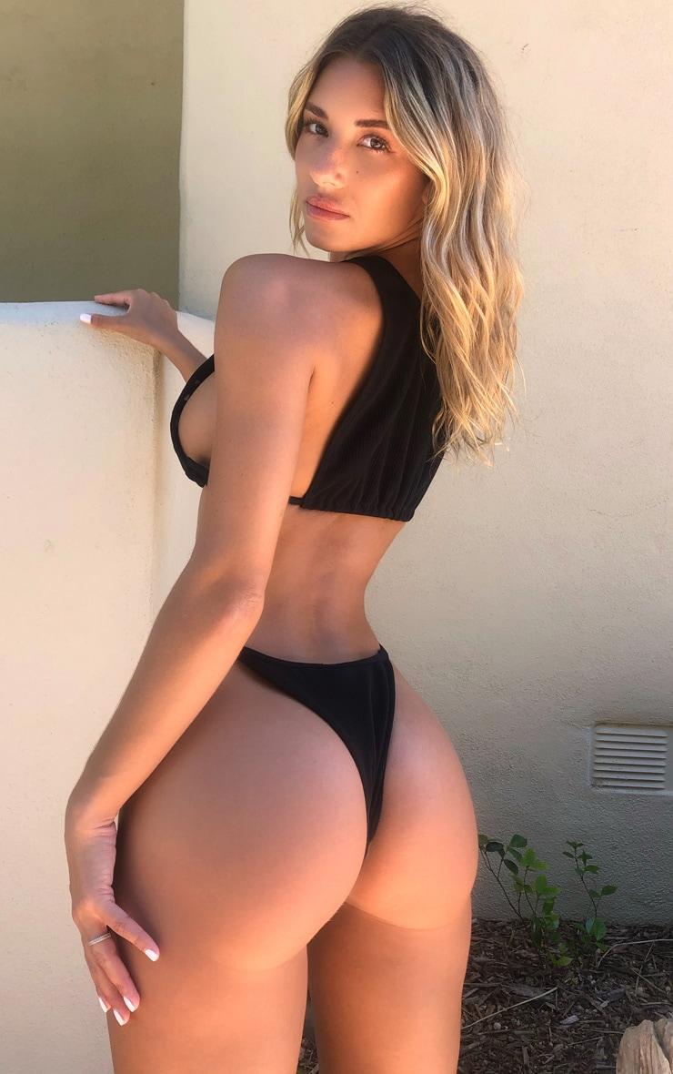 Black Ribbed Tanga Bikini Bottoms 2