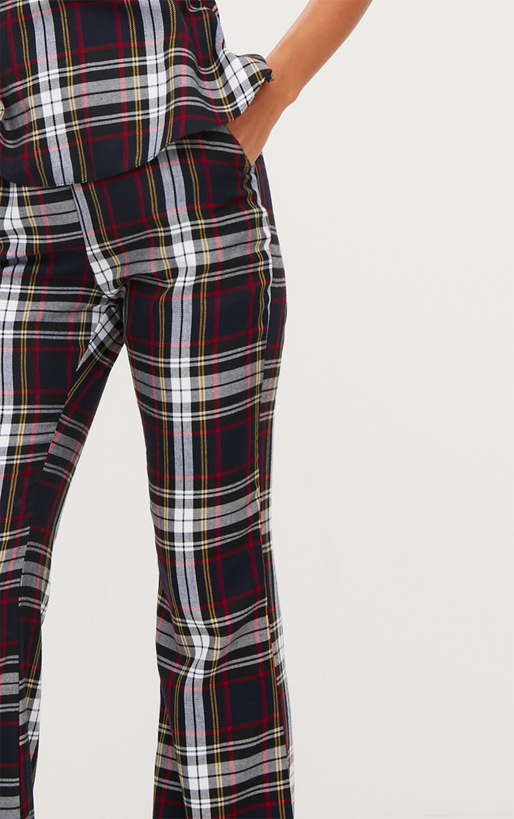 Navy Tartan Mix Check Flare Trousers 5