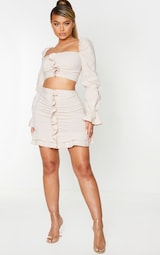 Nude Woven Stretch Frill Ruched Front Mini Skirt 1