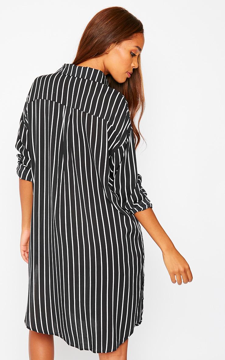 Bria Black Stripe Shirt Dress 2