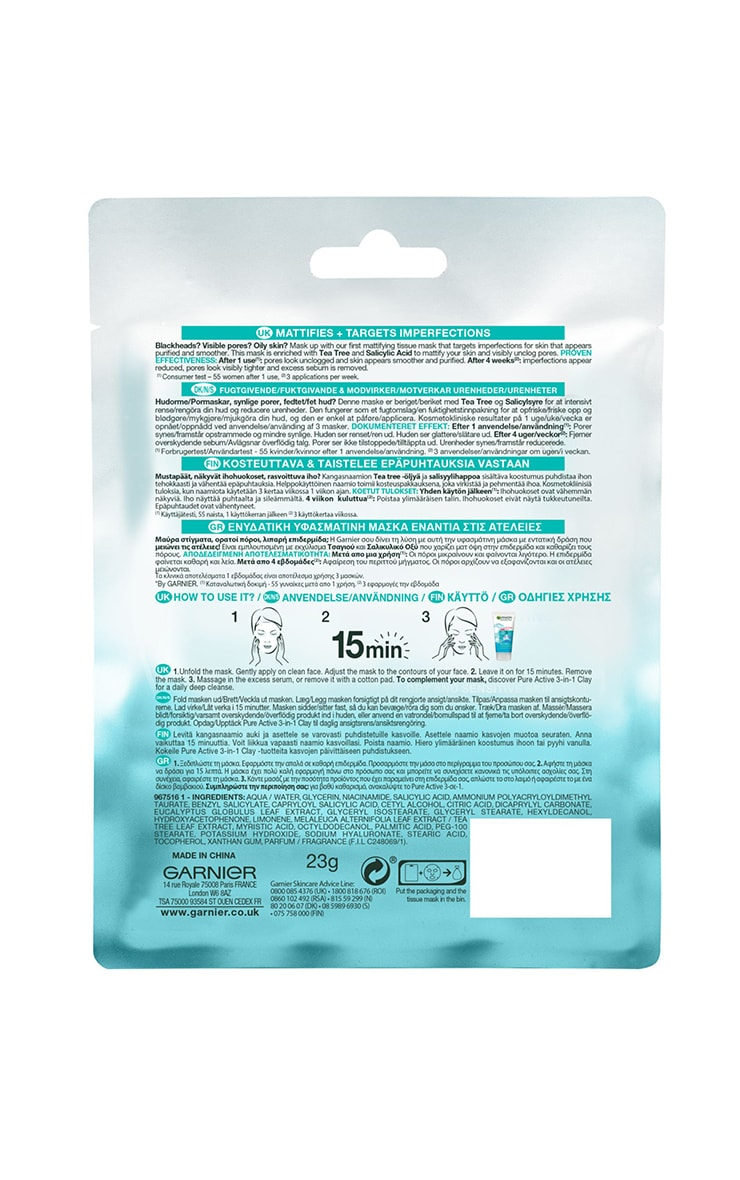 Garnier Pure Active Tea Tree and Salicylic Acid Sheet Mask 23g 3