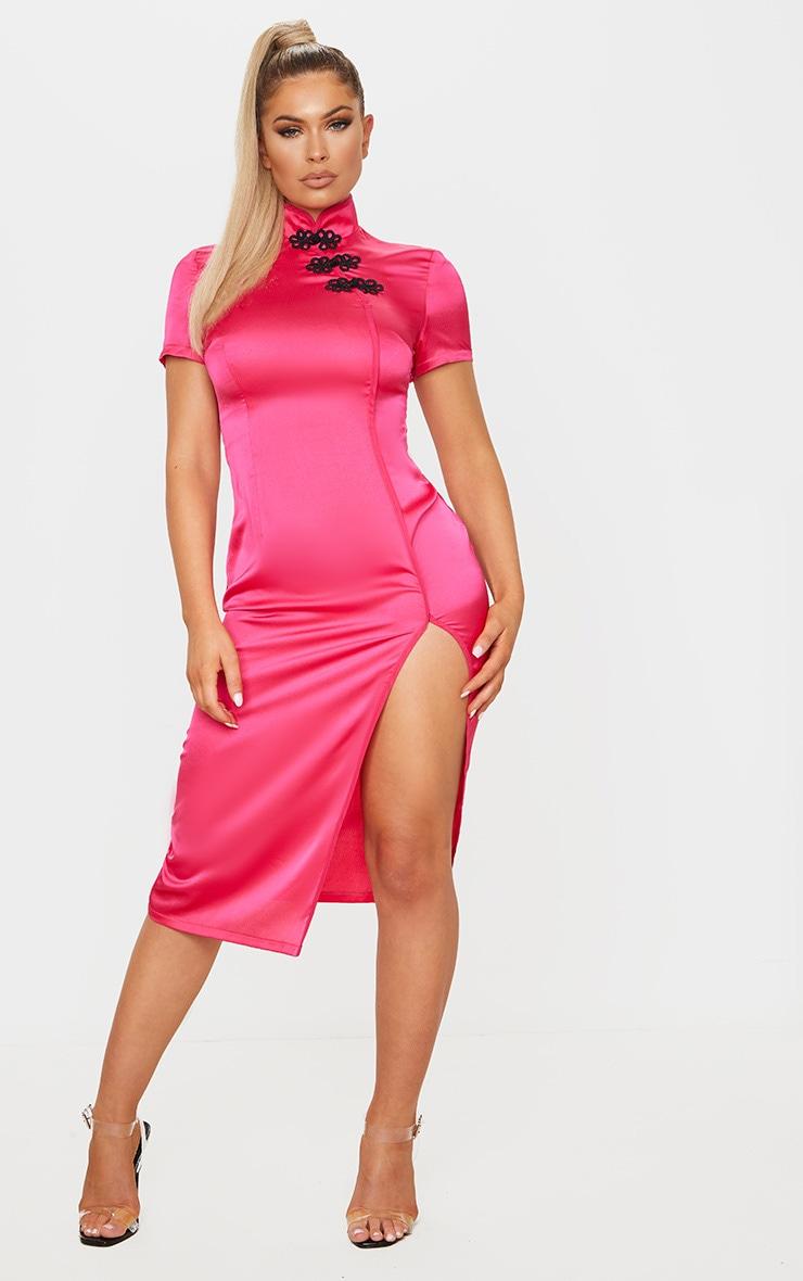 Hot Pink Oriental Short Sleeve Midi Dress 3