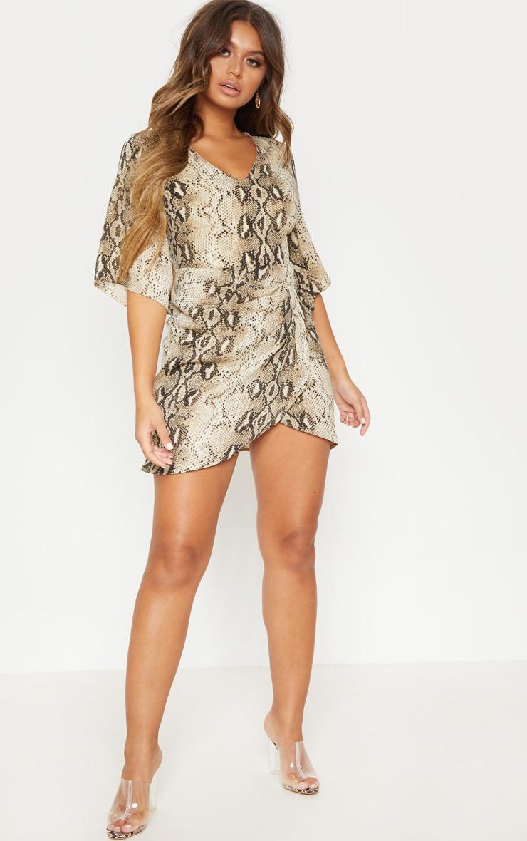 Beige Chiffon Snake Print V Neck Ruched Front Dress 1