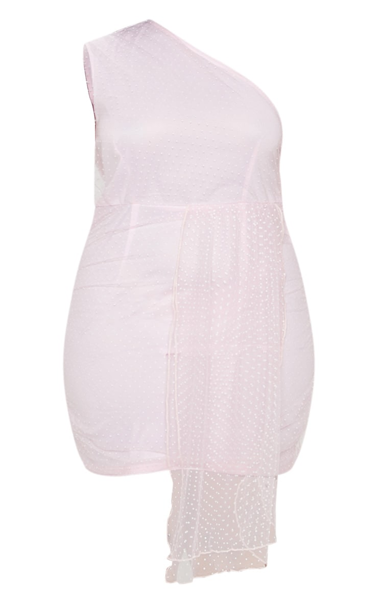 Plus Dusty Pink Mesh Overlay One Shoulder Dress 3