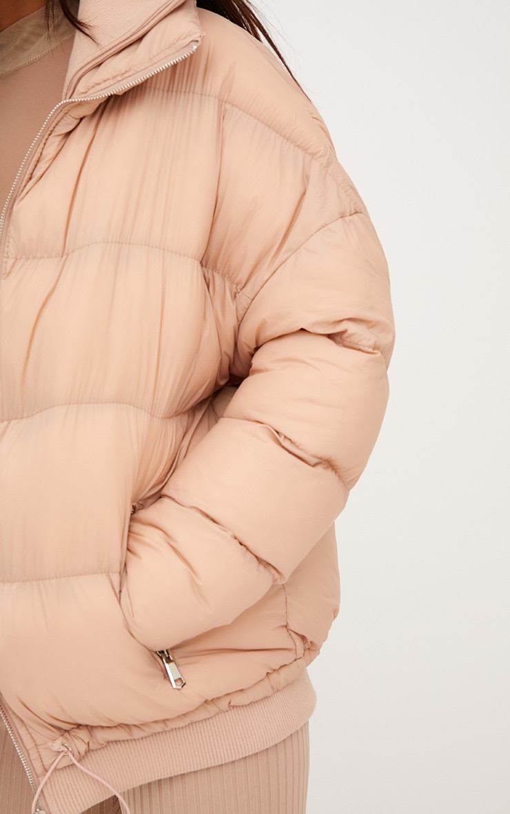 Nude Oversized Puffer Jacket with Zip Pockets 5