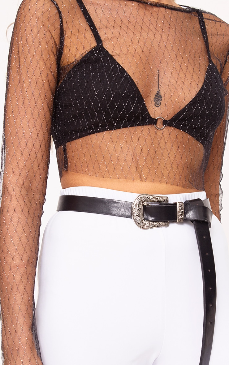 Morrgan Black Sheer Sparkle Mesh Crop Top  5