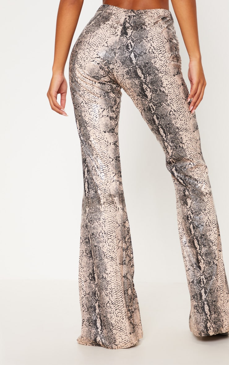 Grey Snake Faux Leather Flared Trouser 5