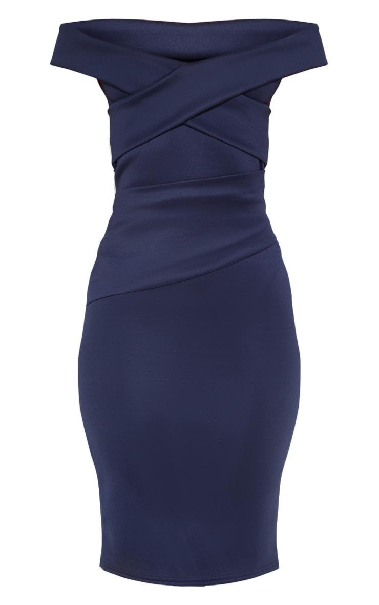 Midnight Blue Bardot Detail Midi Dress 3