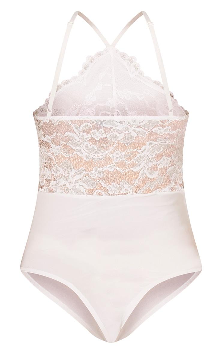 Cream Scallop Lace Thong Bodysuit 4