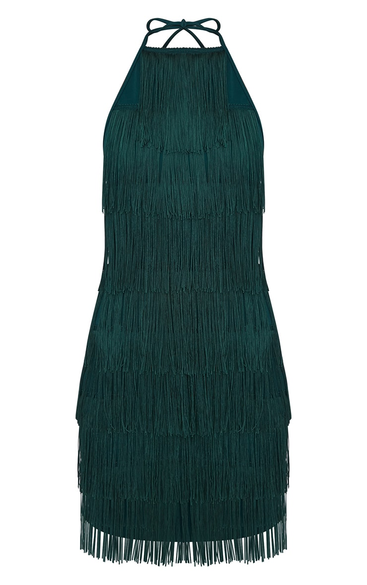 Emerald Green Tassel Detail Halterneck Bodycon Dress 3