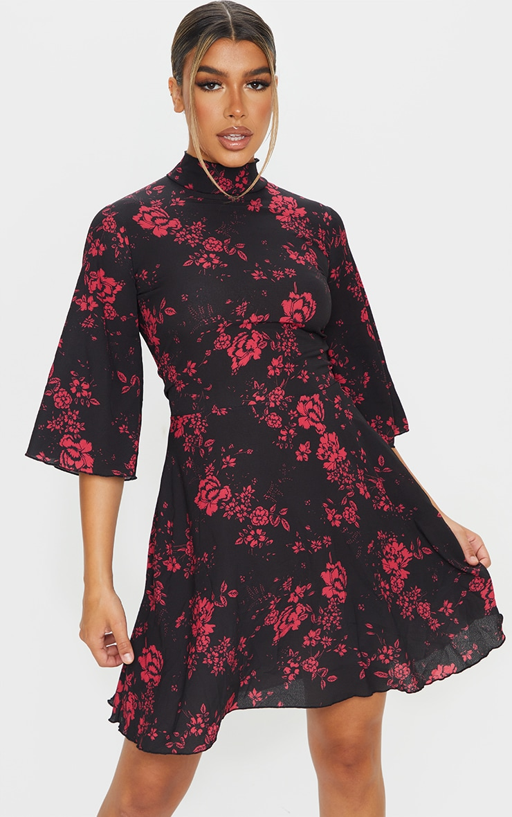 Pink Floral High Neck Cape Sleeve Skater Dress 1
