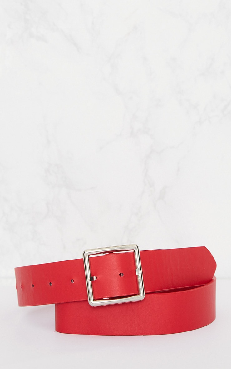 Red Basic Square Buckle Belt 3