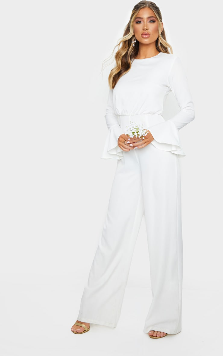 White Frill Sleeve Wide Leg Jumpsuit 3