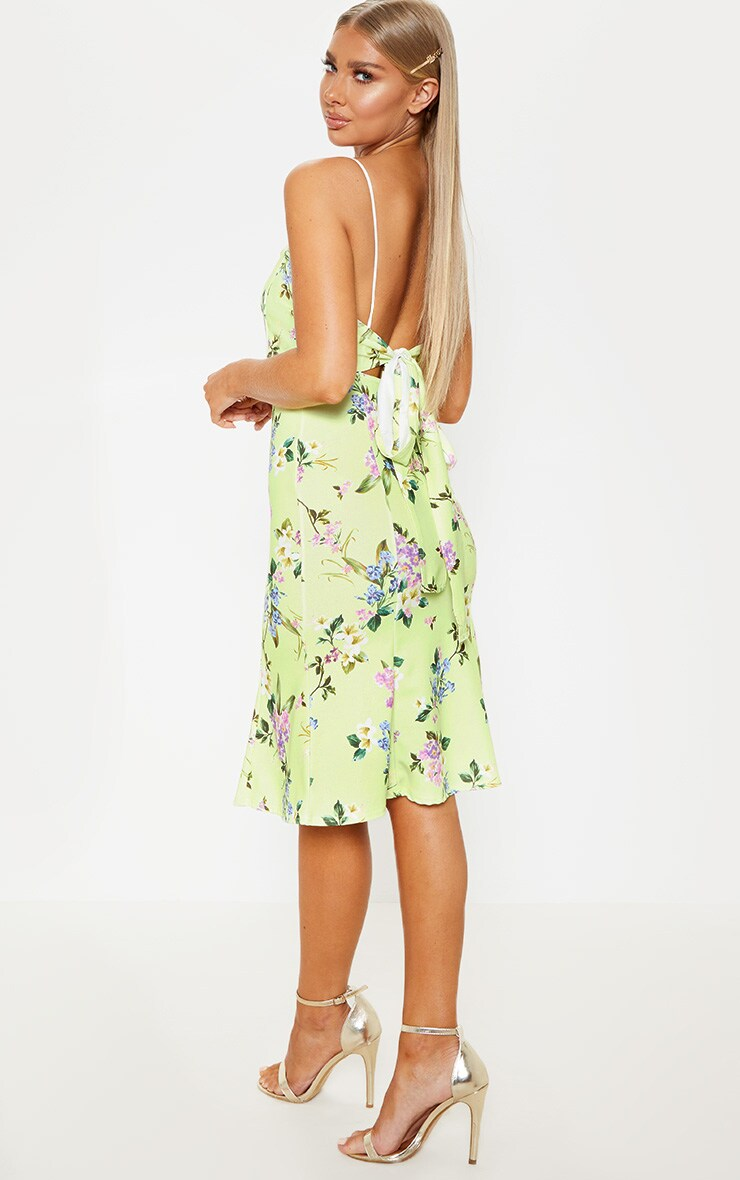 Yellow Printed Scuba Crepe Tie Back Midi Dress 2