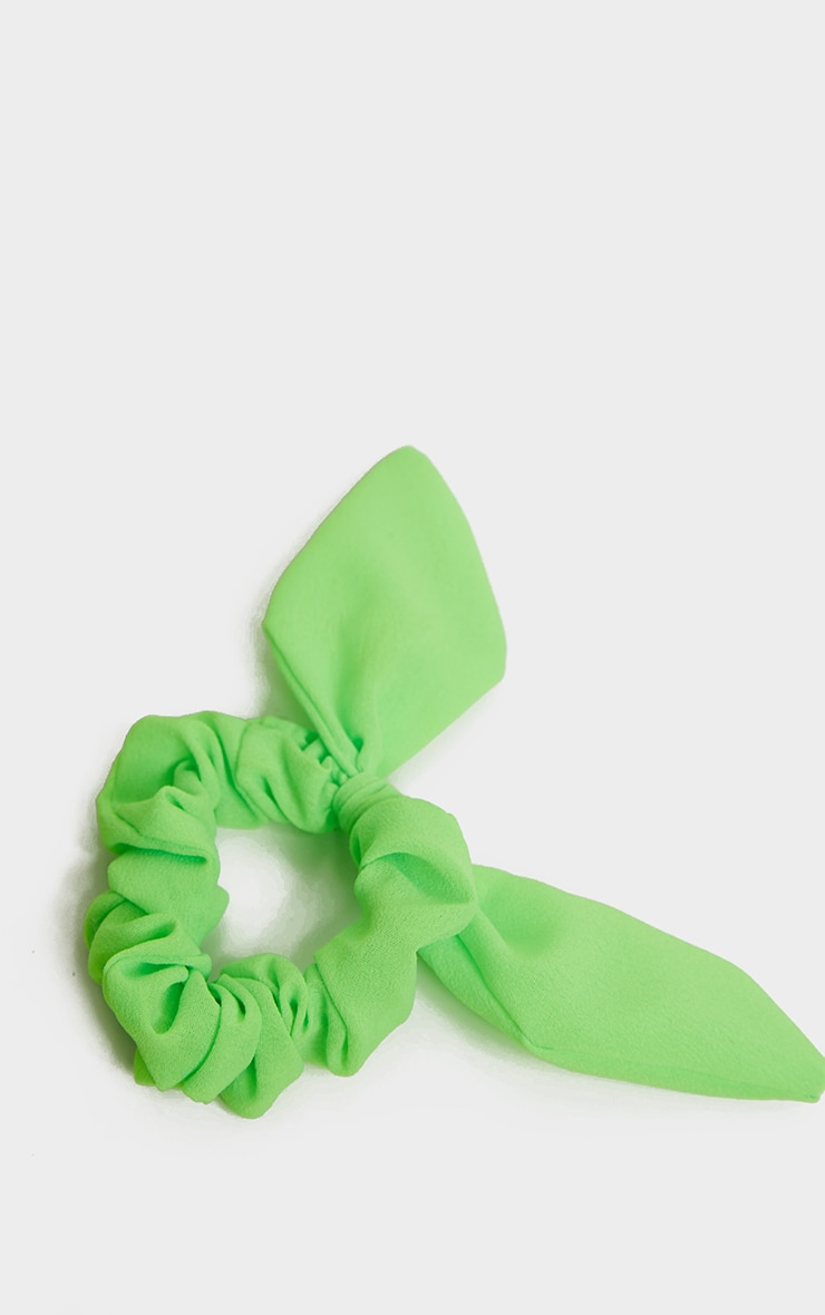 Neon Green Bow Hair Scrunchie 3