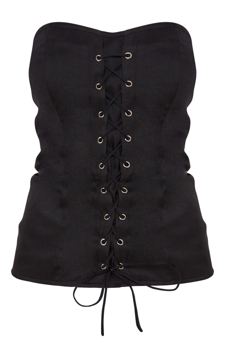 Black Lace Up Corset Top 3