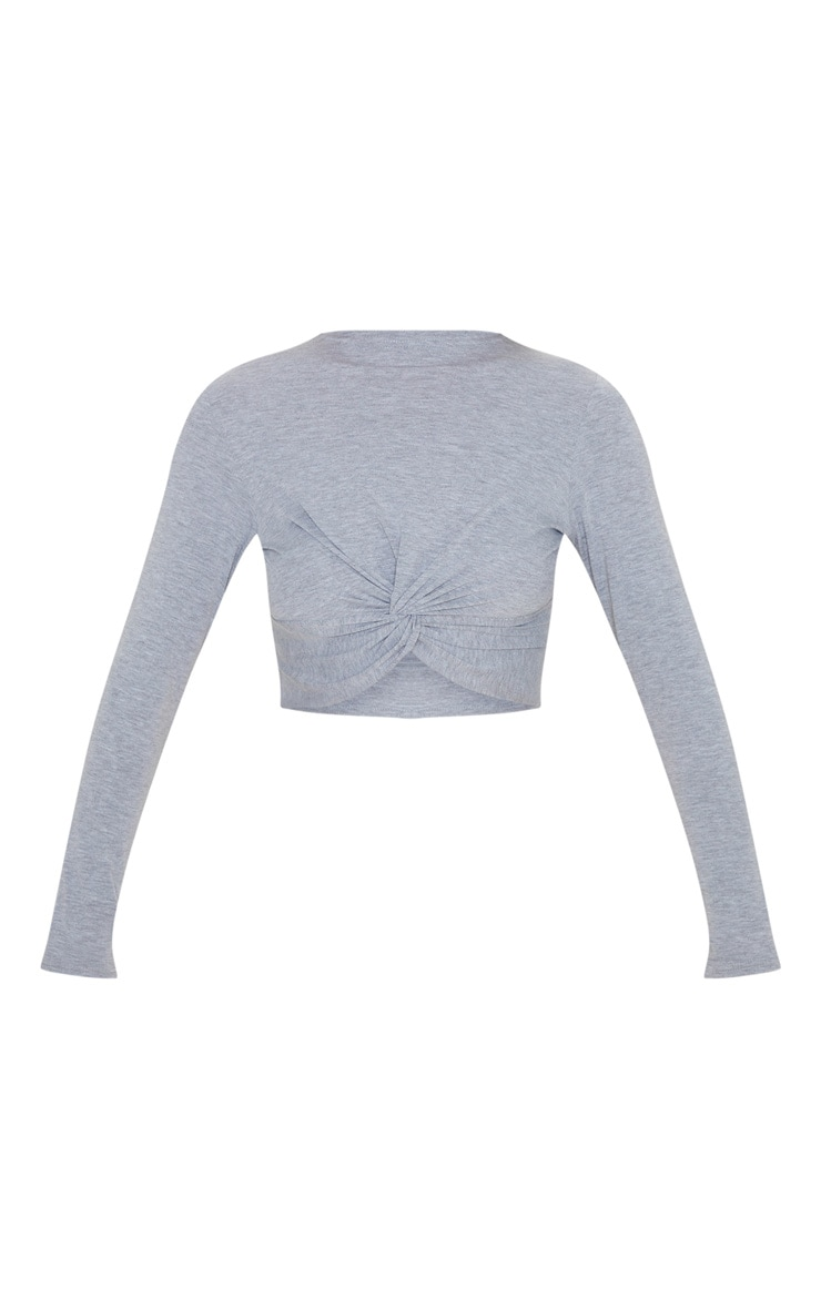 Grey Jersey Long Sleeve Knot Hem Crop Top 3
