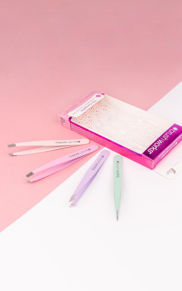 Brushworks HD 4 Piece Combination Tweezer Set Pastels 1