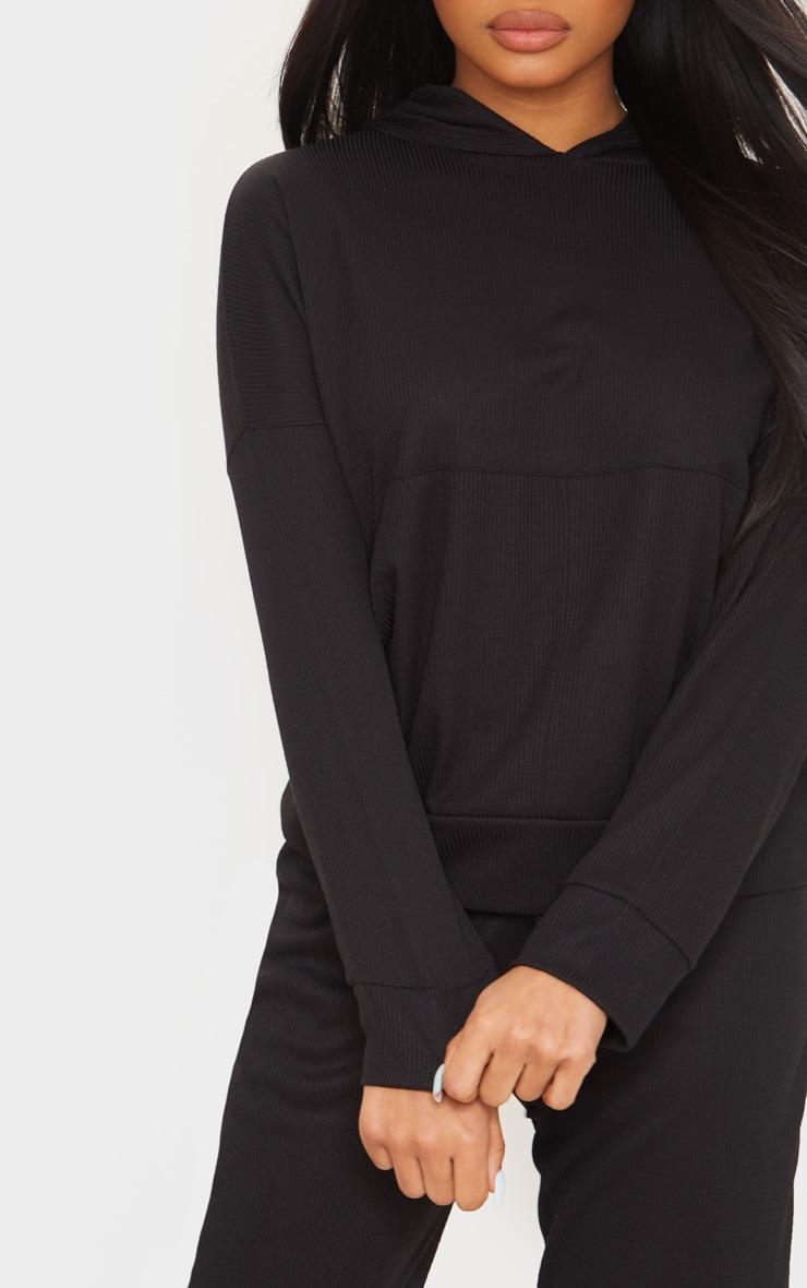 Petite Black Ribbed Oversized Hoodie 5