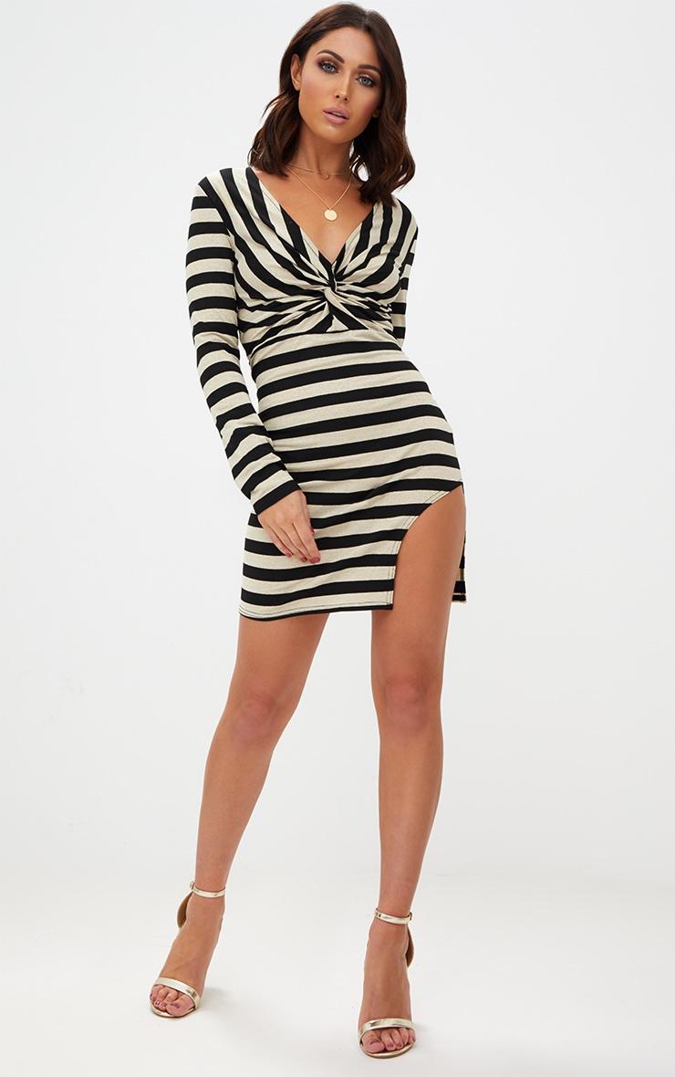 Gold Glitter Stripe Long Sleeve Plunge Extreme Split Bodycon Dress 4