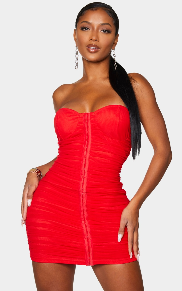 Shape Red Mesh Ruched Hook And Eye Bodycon Dress 1
