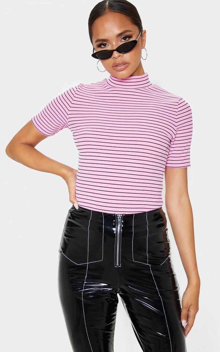Pink Stripe Rib High Neck Short Sleeve Top 1