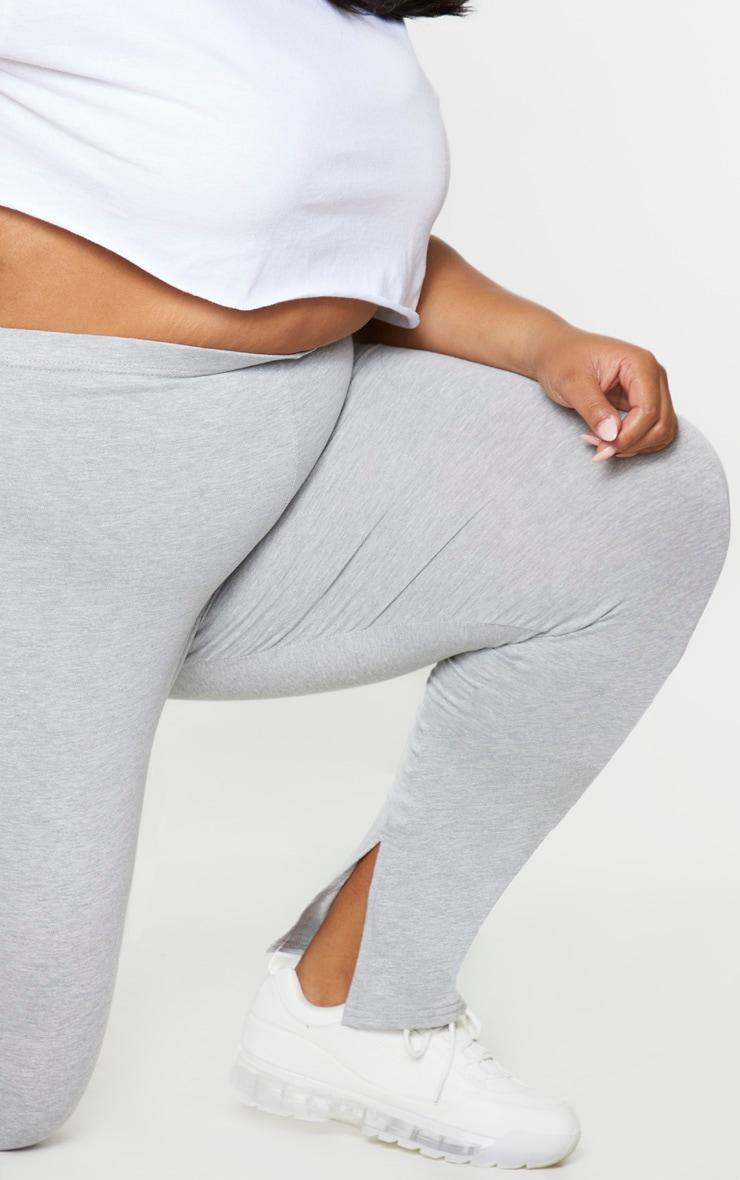 PLT Plus - Pantalon gris à bandes sport sur le côté et détail fendu 4