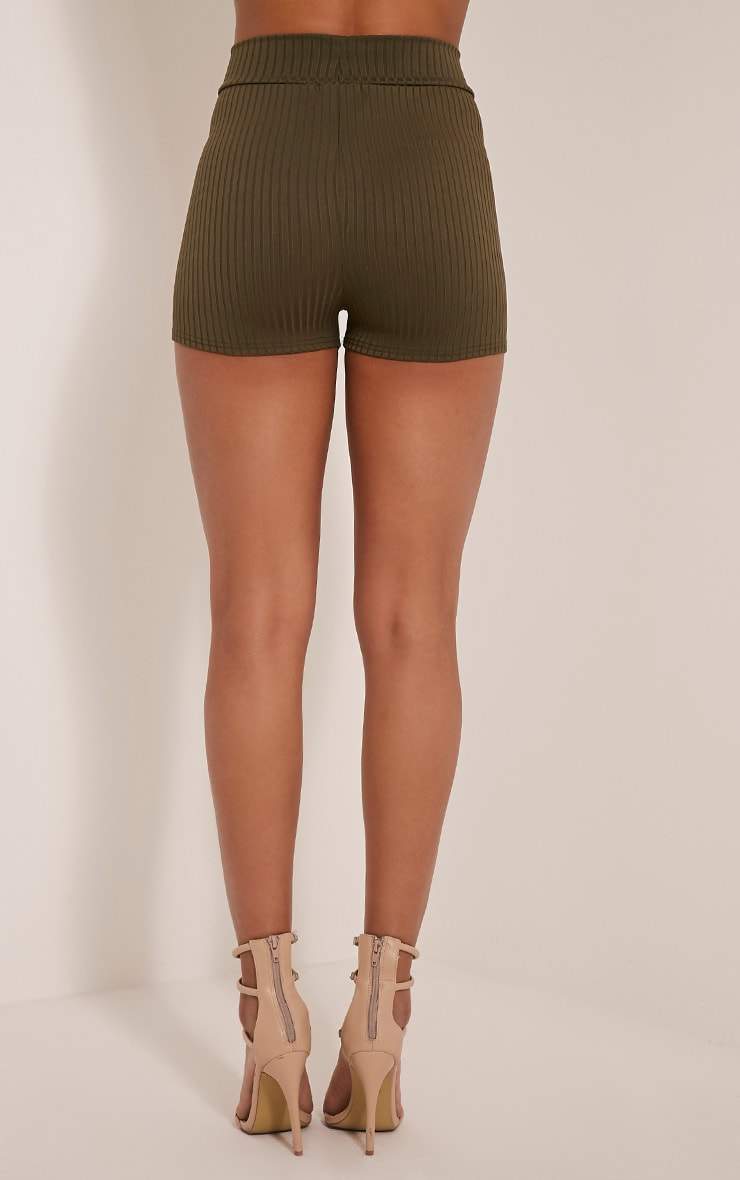 Janice Khaki Ribbed Shorts 5
