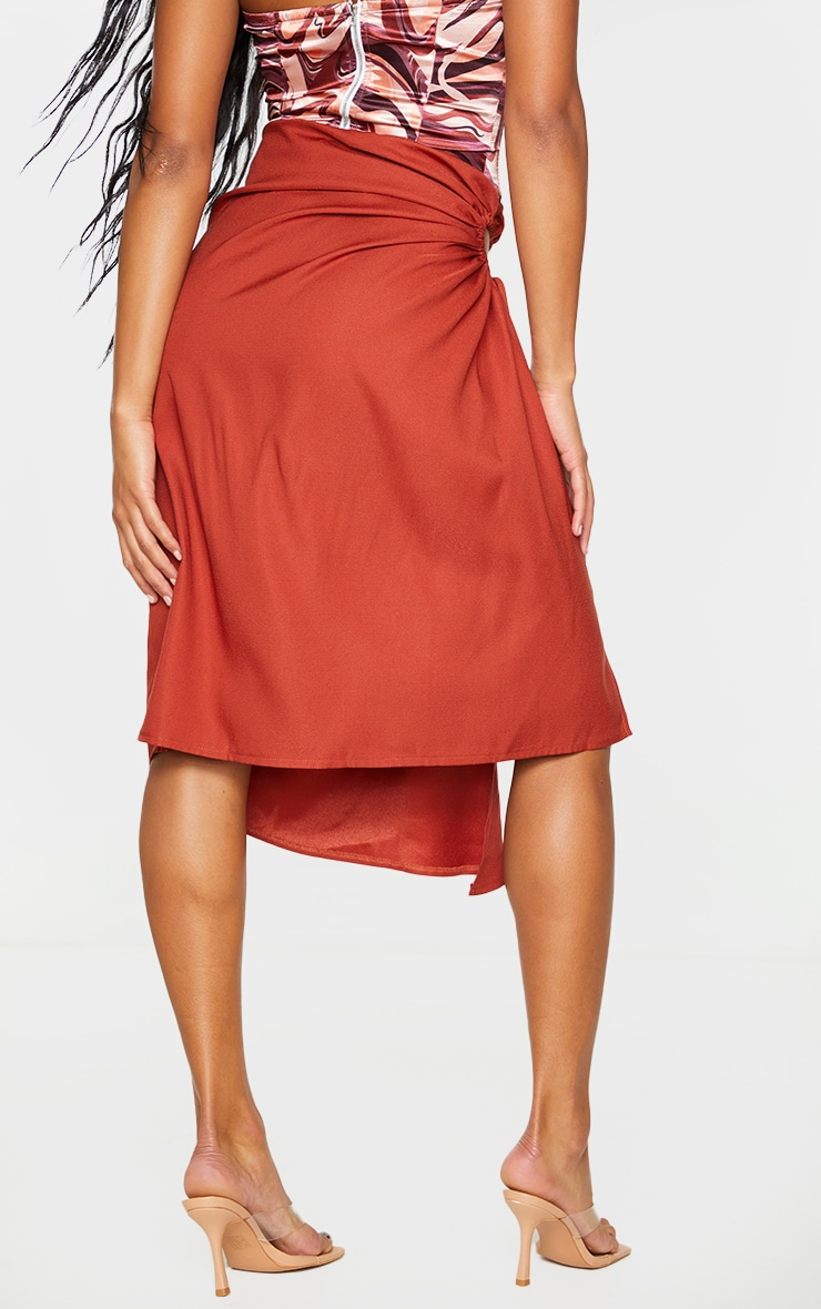 Rust Woven Ruched Cut Out Detailing Midi Skirt 3
