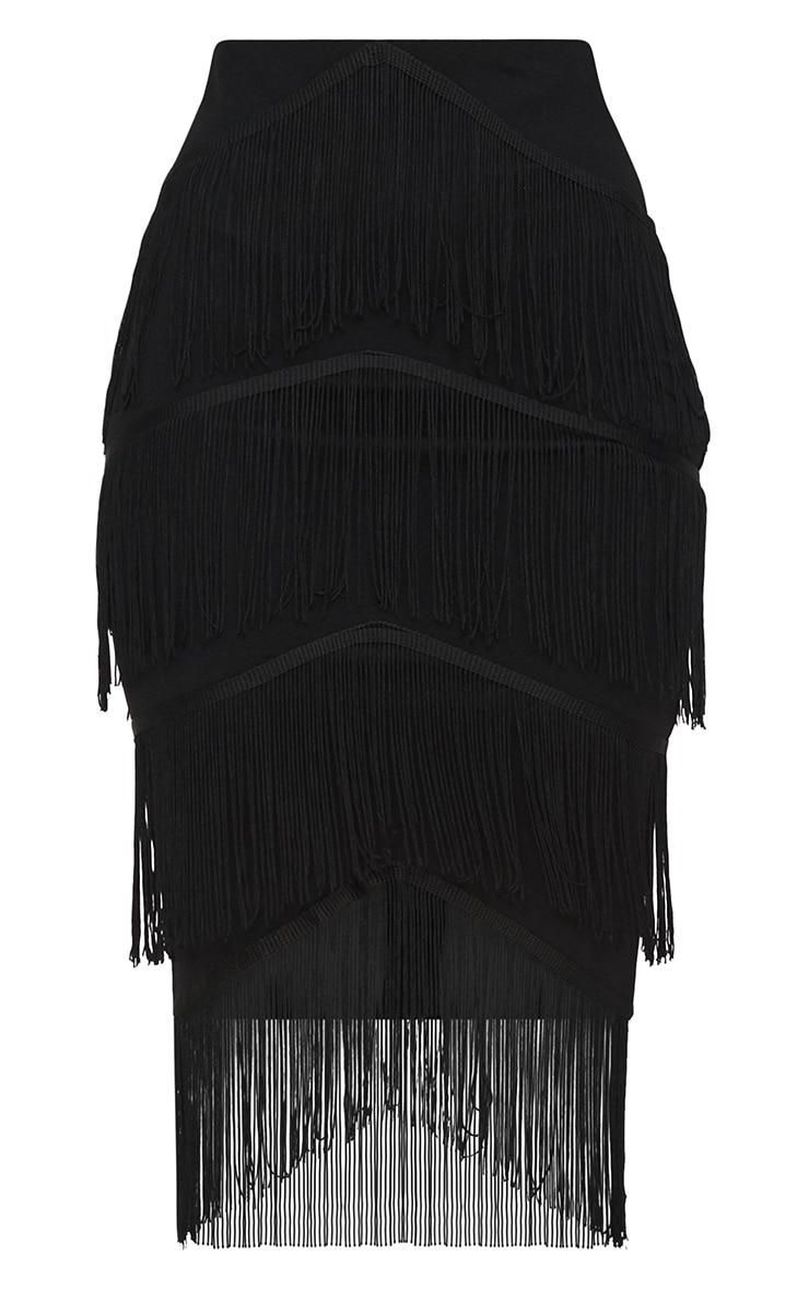Black Tiered Fringe Midi Skirt 3