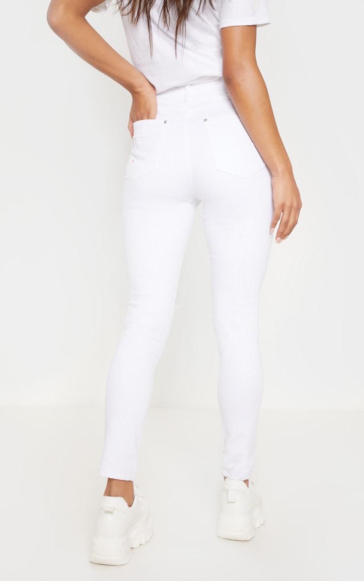 White Knee Rip 5 Pocket Skinny Jean 4