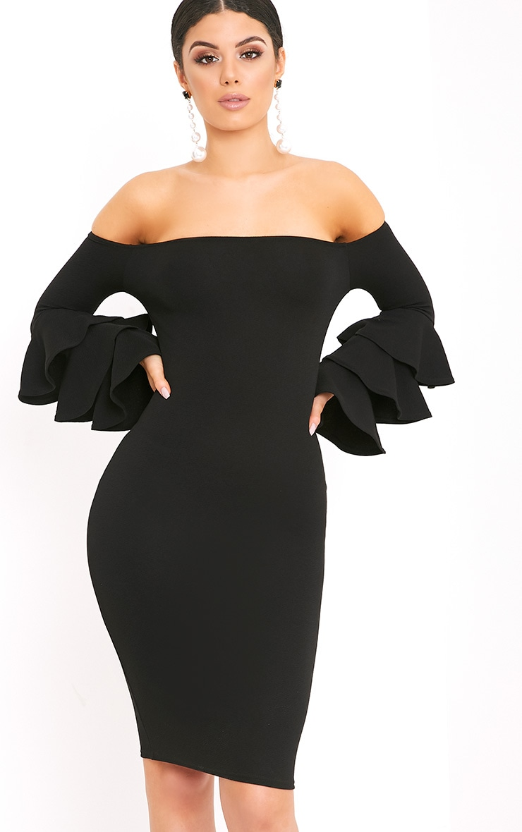 Aniaa Black Bardot Ruffle Sleeve Midi Dress 2