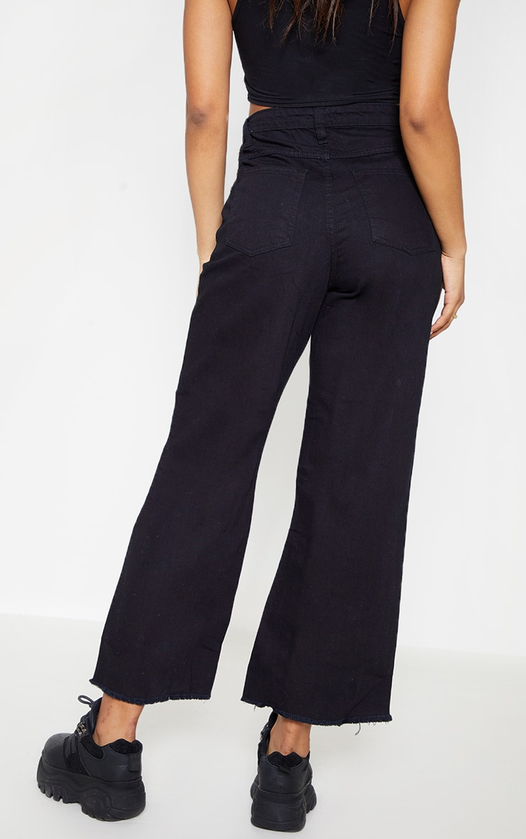 Tall Black Cropped Wide Leg Jean 4