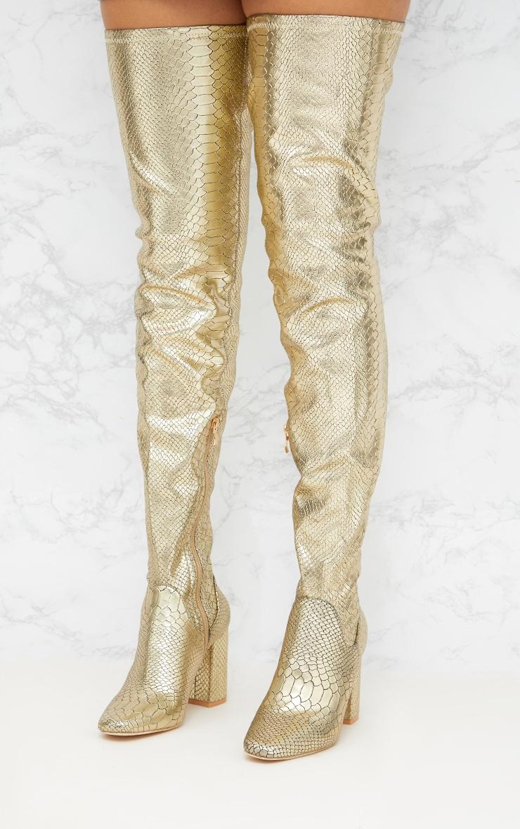 Gold Snake Effect Thigh High Boot 2