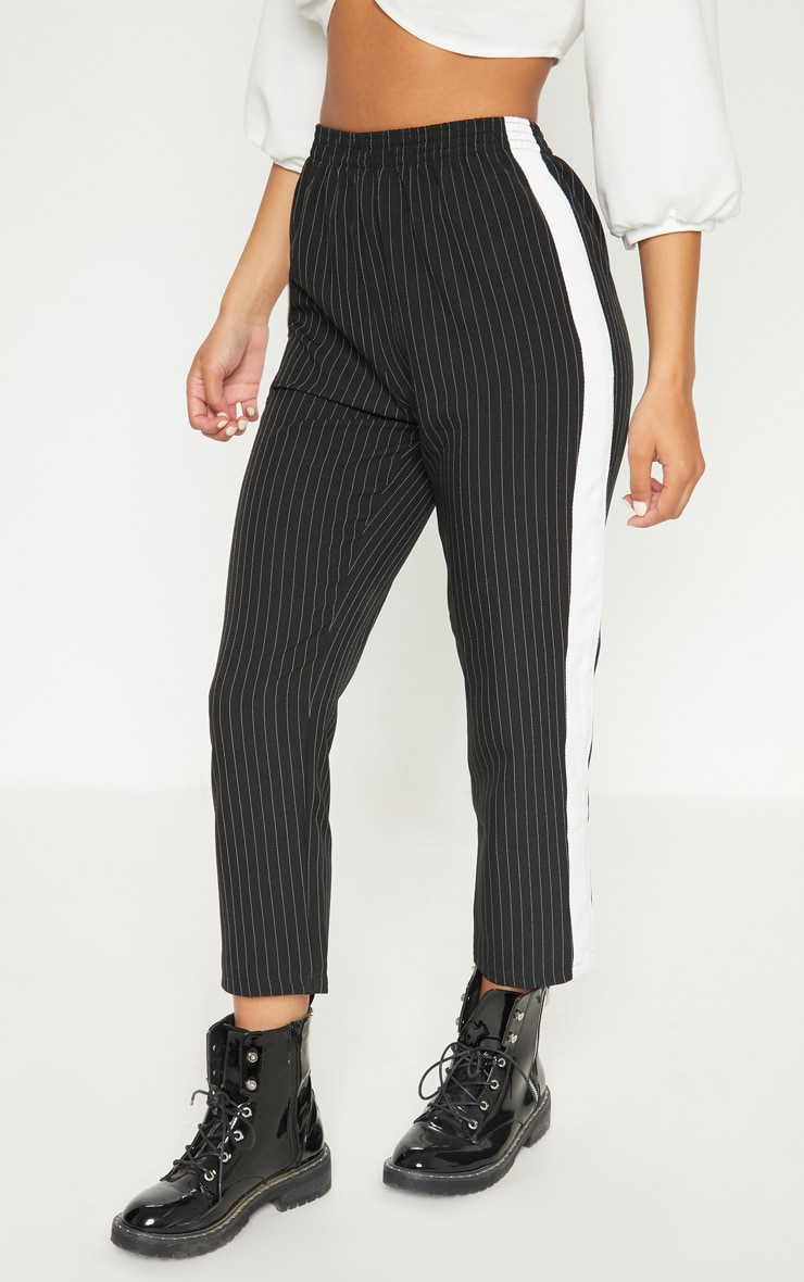 Black Pinstripe Tailored Side Stripe Cigarette Trouser 2