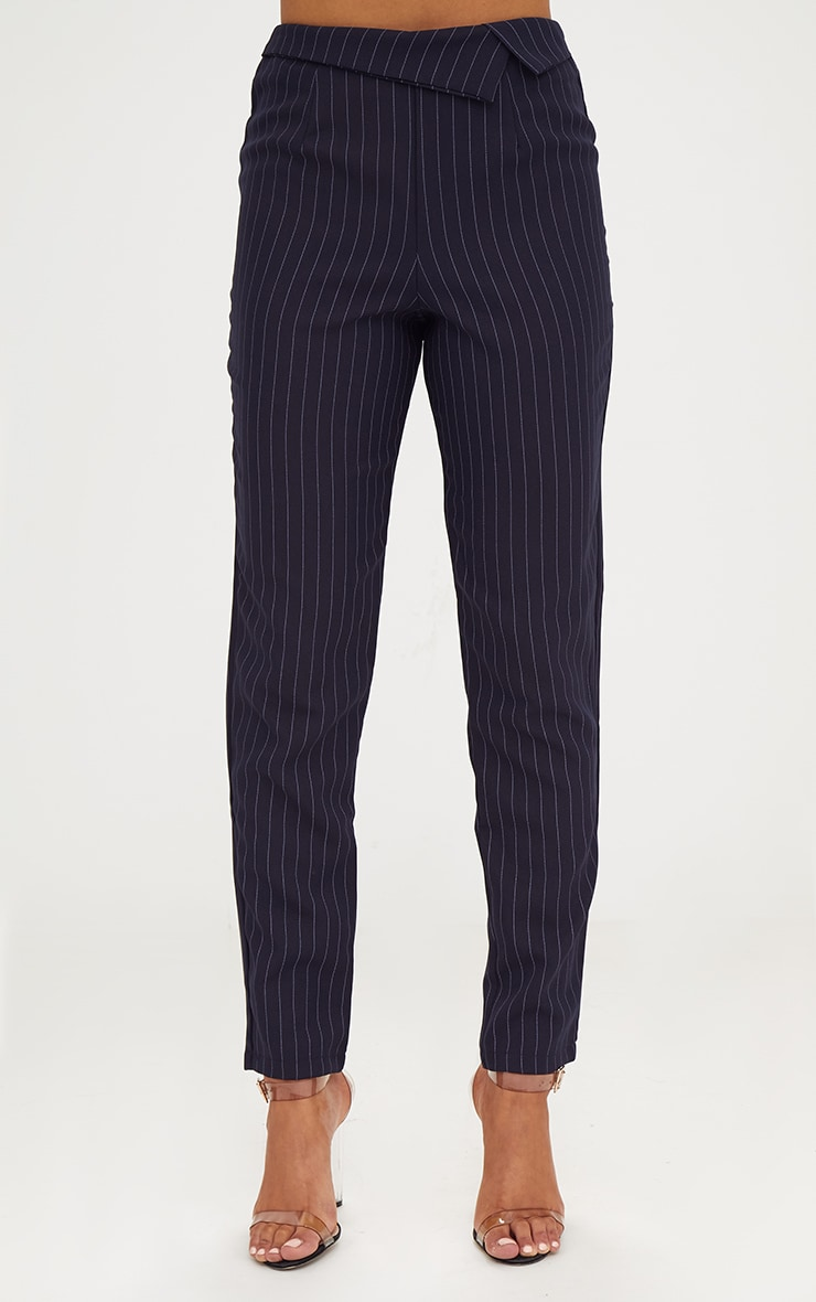 Navy Pinstripe Collar Waist Trousers 2