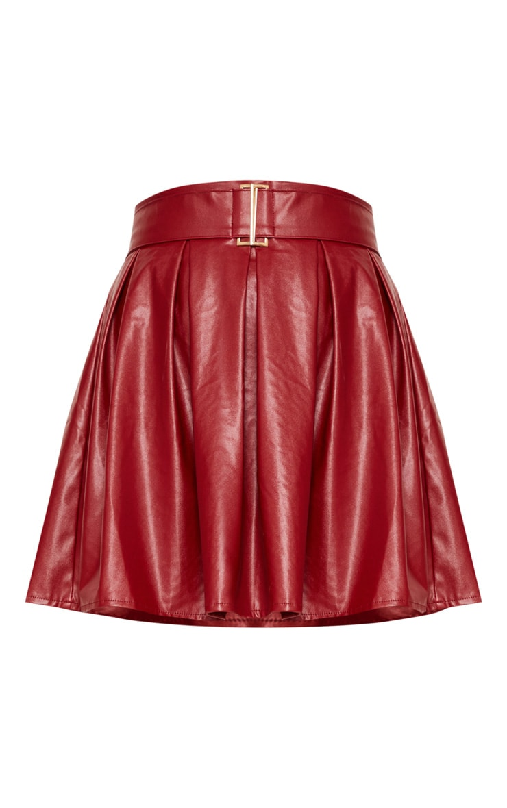 Burgundy Belted Faux Leather Pleated Mini Skirt 3